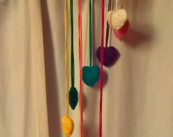 handmade rainbow heart mobile