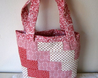 patchwork tote bag, handmade for girls