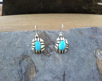 No.133 Castle Dome Turquoise Dangle Earrings in .950 Sterling Silver