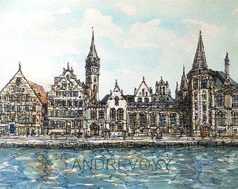 Gent Ghent Belgium art print from an original watercolor painting