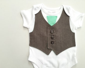 SALE, size 0 to 3 months, Baby coming home outfit, baby boys clothes, newborn boy gift, taupe and mint baby vest, baby wedding outfit
