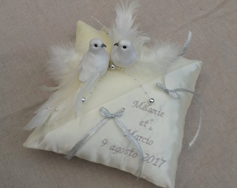 Wedding ivory and silver decor pillow birds doves inseparable