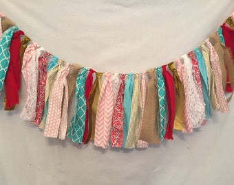 Valentine's Garland/Aqua and Red Garland/Fabric Garland/Valentine's Day Banner/Aqua and Pink Fabric Garland/Fabric Banner/Turquoise Garland