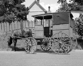 "1936 Horse Drawn Mail Wagon, Marshall, TX Vintage Photograph 8.5"" x 11"""