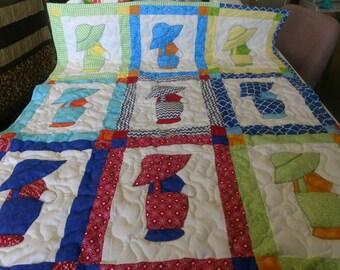Handmade Appliqued Pieced  Sunbonnet Sam Dutch Boy Baby Crib Lap Throw Quilt  Blanket Made in Arkansas Ozarks