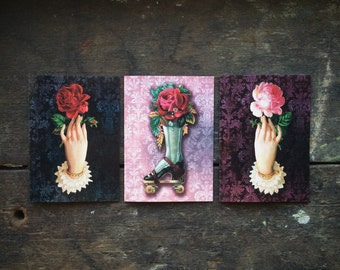 Valentines Gothic Wiccan Witchcraft, Vintage Red & Pink Rose Floral Love Spell, Christmas,Mothers Day, Luxury greeting card three (3) pack.