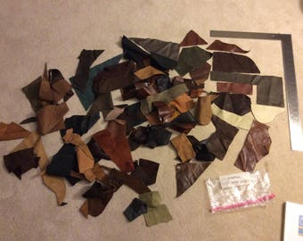 Small Leather Remnants brown tan variety various colors shapes sizes grab bag lot SCRAP006
