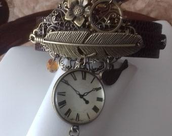 Fake watch with bigfeather, cogs, bird, steampunk topaz drop