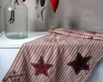 Country Table runner Country Primitive decor Country cottage decor Rustic table runner Red striped Stars table runner Christmas table