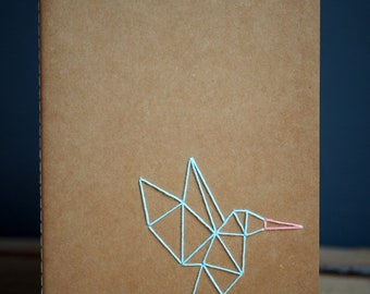 Hand embroidered Moleskine notebook A5 with origami Hummingbird