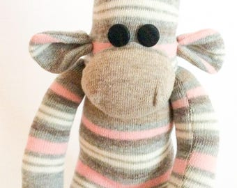 Sock monkey/ monkey toy/ stuffed monkey/ stuffed toys/ stocking filler/ cute monkey/ cuddles monkey/ monkey made with socks/ child gift/