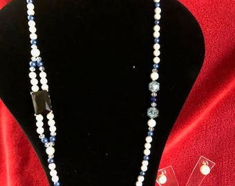 Navy Blue and Pearl Necklace