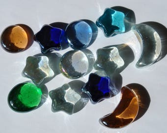 Set 2 - 12 stars, moons, transparent discs colored - with slight defects cabochons