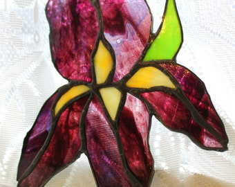 Custom Made Stained Glass Iris Sun Catcher