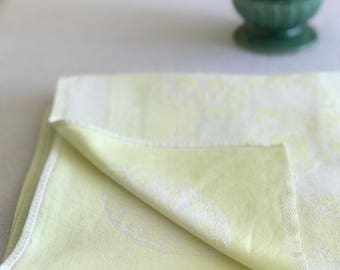 Pale Yellow Vintage Damask Linen Tablecloth
