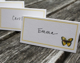 Butterfly Placecards for Table, Set of 12. Watercolor Yellow Butterfly with Yellow Border