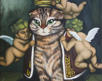 Digital Prints - Queen Frank Magestic Cat Large Original Acrylic Painting on Gallery Wrapped Canvas Art by Breanna Deis