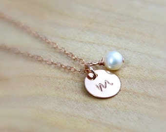 Personalized Rose Gold Initial Necklace / Birthstone Pink Monogram Necklace Bridesmaid Gifts / Child Sister Necklace Gold or Silver