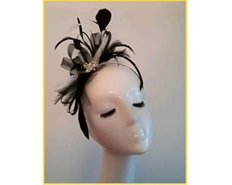 Black and White Fascinator Hat for Wedding Fascinator for Races Black Feather Fascinator Unusual Fascinators Bespoke Millinery Unique Hat