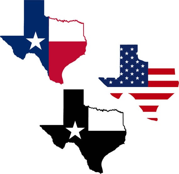 3 In 1 Svg Design State Of Texas Map Flag Us Silhouette Cricut File Decal