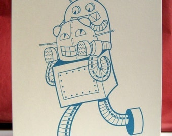 Robot Dad card - Father's day card, blank robot notecards, blank greeting card, robot family card, robot greeting card, card for new dad
