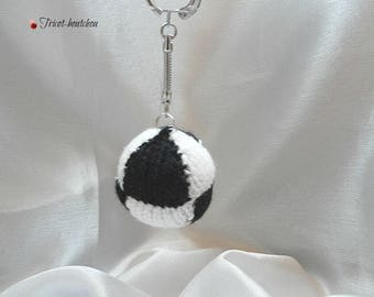 Football Keychain black and white