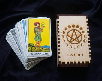 Tarot Card Box Pentacle Moon Phases Holder Wooden
