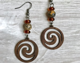 Wooden Spiral Beaded Earrings