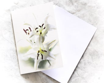 Easter Lily card | Lily photo card | flower photo card | easter card | may birthday card | white lily card | sympathy card | spring | 30th