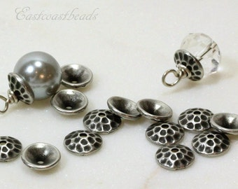 TierraCast Bead Caps, Hammertone Bead Caps, 8mm, Antiqued Pewter, Jewelry Findings, Beading Supplies, 8 mm Bead Caps, 10 Pieces, 6240