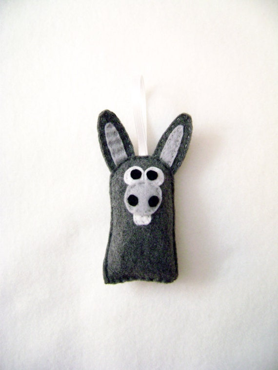 Donkey Ornament, Christmas Ornament, Nate the Donkey, Felt Ornament, Ornament, Gift Topper, Felt Animals