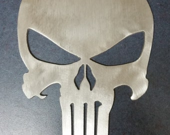 Brushed aluminum punisher skull