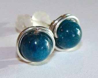 Blue Apatite Studs 6mm Blue Apatite Post Earrings Wire Wrapped in Sterling Silver Earrings Stud Earrings Studs