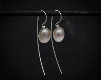 Long Earrings, Silver Drop Earrings, Gold Drop Earrings, Pearl Earrings, Elegant Earrings, Unusual Earrings, Sterling Silver, Gold Vermeil