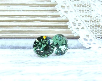 8mm Studs Green Crystal Studs Solitaire Earrings Green Stud Earrings Large Crystal Studs Surgical Steel