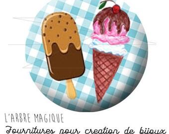 2 cabochons glue summer summer ice cream ice ref 1882 glass 20 mm-