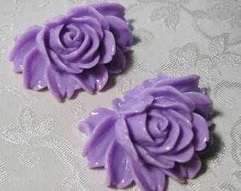 Large Purple Rose Flower Cabochons 43mm x 35mm Acrylic Lucite Resin 914