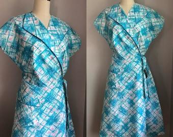 Vintage 1950's NOS Aqua and Pink Cotton Wrap Day Dress Size Medium