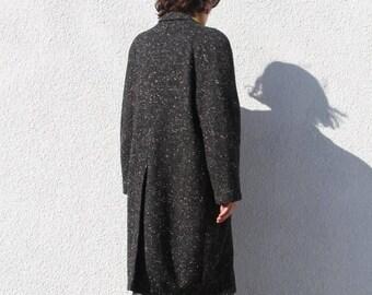 Vintage 80s Static Soft Black + White Coat size M/L