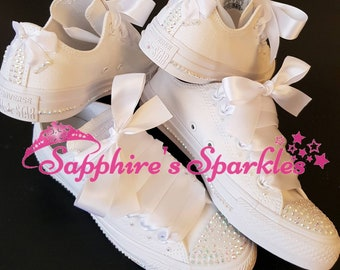 Sparkly bridal shoes etsy bridal white shoes wedding customised bride bling sparkly white converse bridesmaid shoes junglespirit Images