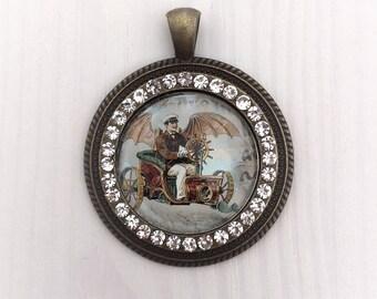 Steampunk, pendant, Medallion, rhinestone, bronze, unique
