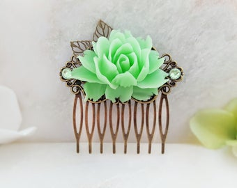 Floral Hair Comb Bridesmaid - Mint Hair Clip - Green Hair Accessory - Crystal Hair Comb - Leaf Hair Piece - Rhinestone Hair Comb Green H2002