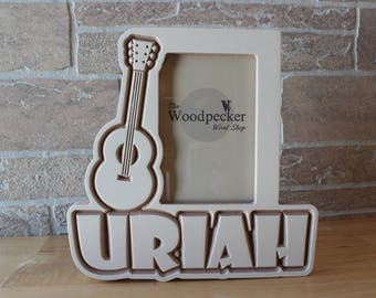 Children's Guitar Picture Frame - Custom and Personalized with Your Name, Font Choice and Stain or Paint Choice