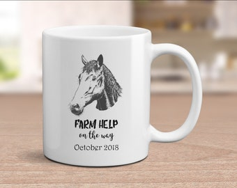 Horse Mug, Horse Rider Gifts, Horse Riding Mug, Horse Lover Gift, Farm Help On The Way, Baby Announcement, Farmer Mug Gift, Farm Mug, Cute