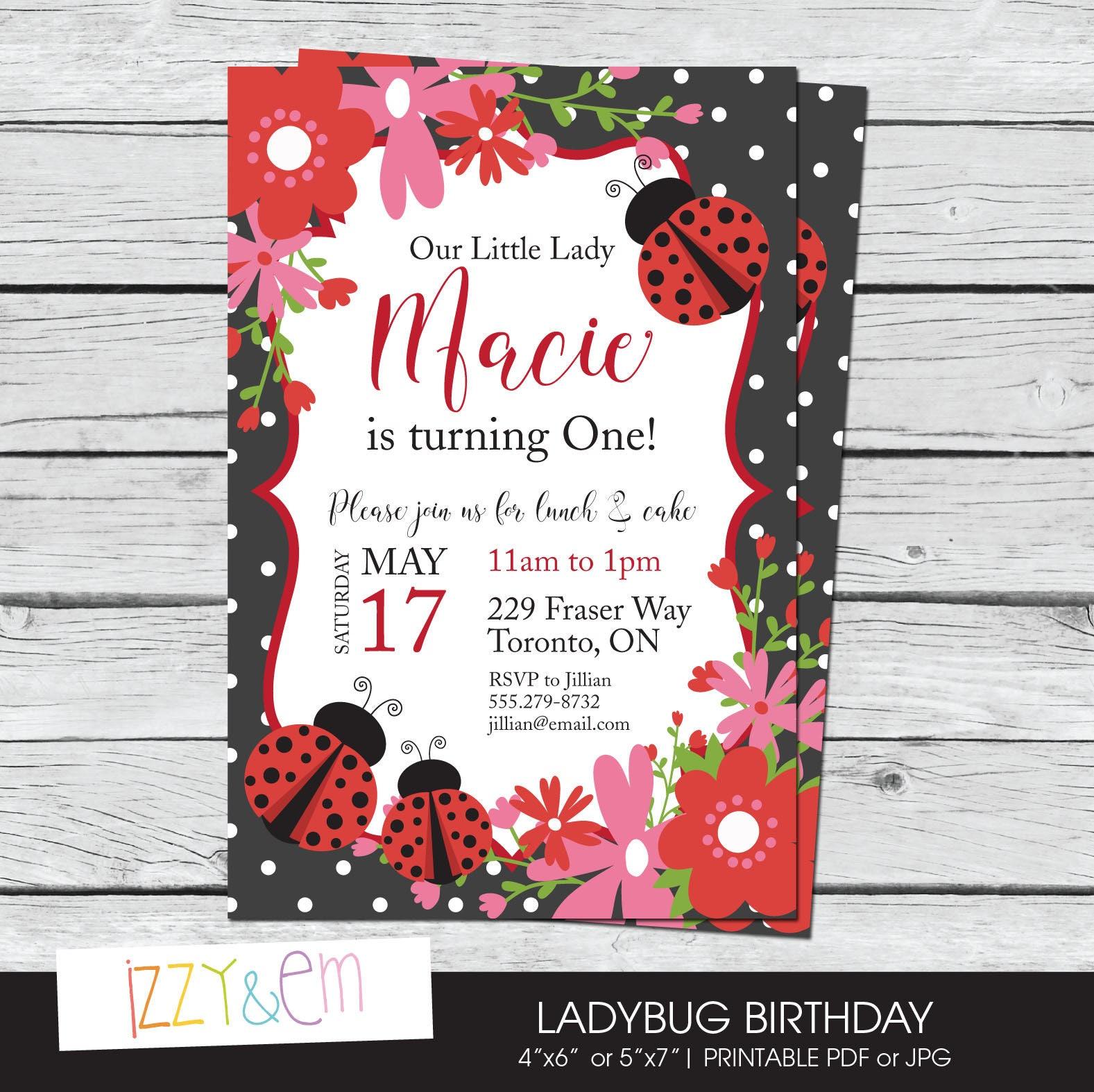 Ladybug Birthday Invitations Ladybug Party Ladybug 1st