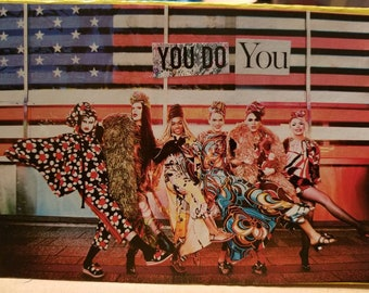 "Happy Pride Card with Drag Queens doing leg kicks in front of US flag, ""You Do You""! LGBT Pride Gay"