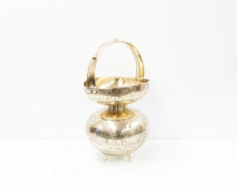 Large Brass Urn with Engraved Floral and Figural Motifs