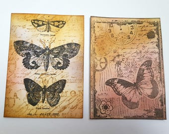 ACEO set vintage butterflies, butterfly art cards, ATC vintage inspired style original hand inked and stamped, steampunk cogs