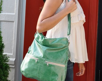 Green Large Italian Leather Convertible Crossbody Bag – Oversized Clutch, Shoulder Bag, Backpack, 8-in-1, Made in USA