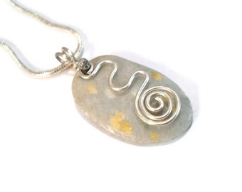 Beach Stone Jewelry Sterling Silver Pendant Wire Wrapped Necklace Lake Superior Spiral